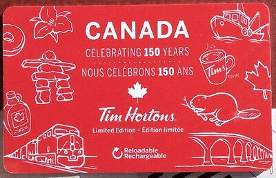 TIM HORTONS CANADA CELEBRATING 150 YEAR--0--- VALUE RECHARGEABLE Gift Card MINT