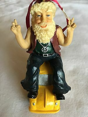 RARE VW Volkswagen Santa Peace sign on BEETLE Bug Christmas Holiday ORNAMENT