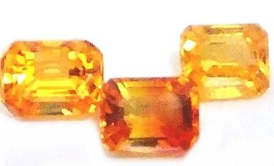 NATURAL  SRILANKAN GOLDEN & ORANGE SAPPHIRE  (3p / 4 x 3-3.5 x 3 mm) EMERALD CUT