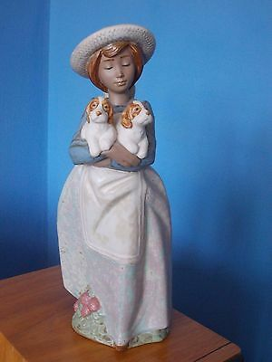 Beautiful Lladro Nao Gres Retired Figurine- Girl With Two Puppy Dogs