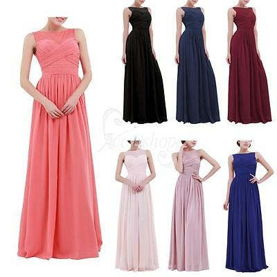 3369125887f3 Women s Long Chiffon Lace Evening Formal Party Ball Gown Prom Bridesmaid  Dress