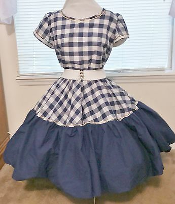 """Square Dance Dress 4 Pc """"kiti""""  Navy Blue And White With Gold  Braid 1X Plus"""