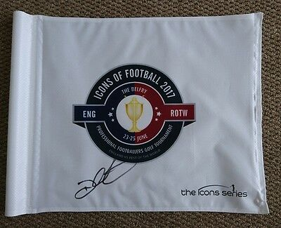 Darren Clarke signed  Icons of football  golf pin flag PROOF AFTAL