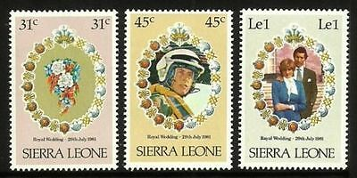 Sierra Leone 1981 Royal Wedding All 3 Commemorative Stamps Mnh