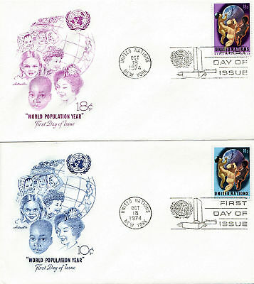 United Nations 1974 World Population Year Pair Of First Day Covers