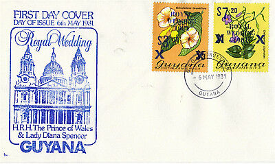 Guyana 1981 Royal Wedding Overprints On First Day Cover
