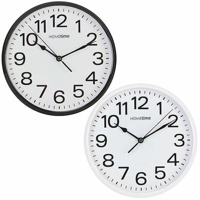Hometime 25.5cm Silent Wall Clock Made from Highly Durable Plastic Large Numbers