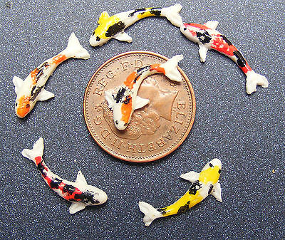 1:12 Scale 6 Koi Carp Fish For A Dolls House Miniature Pond Accessory Mixed tic