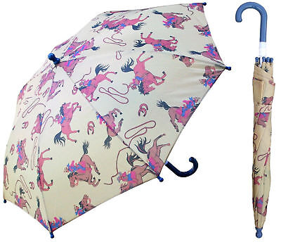 "32"" Children Kid Cowboy Horse Umbrella - RainStoppers Rain/Sun UV"