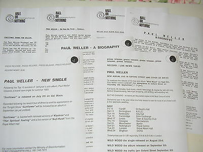 Paul Weller - Publicity promo sheets press releases 1991 - 1993