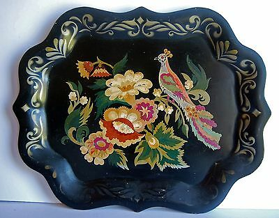 Vintage Toleware Black Tole Tray Hand Painted Peacock Floral Art Nouveau Style