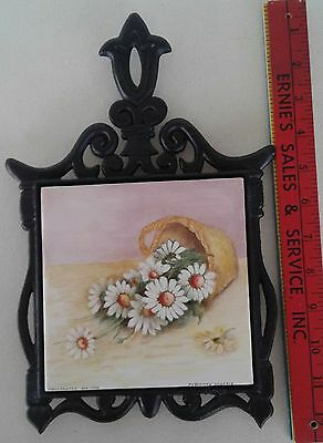 Black Cast Iron and Ceramic Tile Trivet with Flowers in Basket Hand Painted 1992