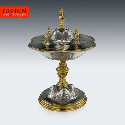 ANTIQUE 19thC EXCEPTIONAL FRENCH SOLID SILVER-GILT FIGURAL VASE & COVER c.1850