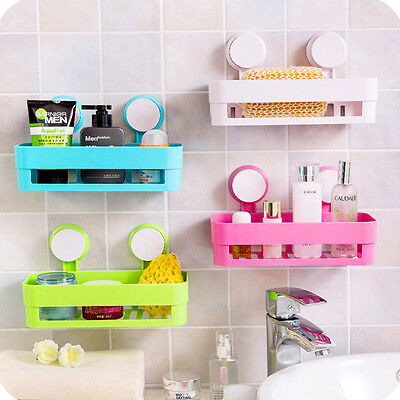 Home Vacuum Suction Cup Bathroom Shelf Supplies Storage Rack Wall Mounted Holder