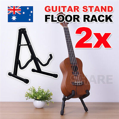 2x Portable Folding Electric Acoustic Bass Guitar Stand Frame Floor Rack Holder