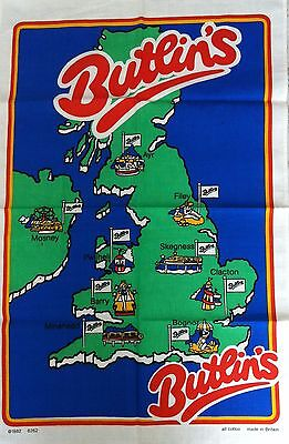 Vintage 'BUTLIN'S' Holiday Camps RED COATS Minehead BARRY Filey 1982 TEA TOWEL