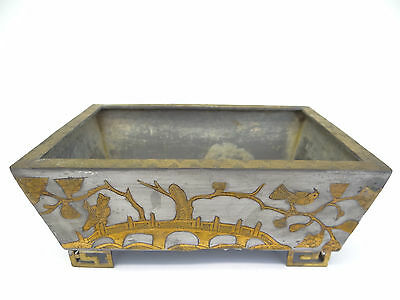 Antique Inlaid China Chinese Birds Figures Decorative Flower Planter Pot Holder