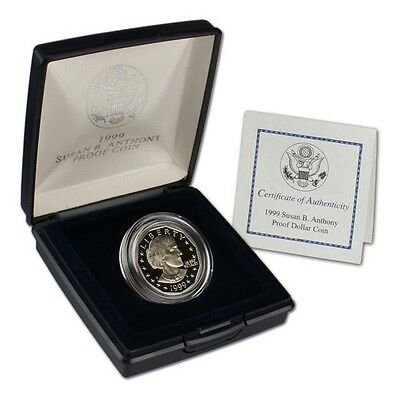 1999-P Susan B Anthony Proof Dollar Us Mint + Coa Last Year Issue Low Mintage