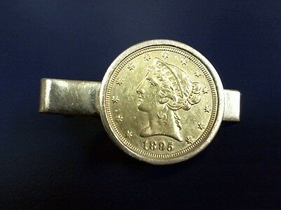 Vintage U S Five (5) dollar 1895 gold coin tie clip - very nice condition -