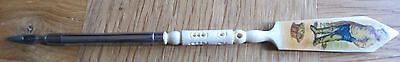 French Celluloid dip pen and letter opener with fisherman decoration