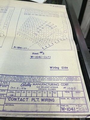 Bally Manufacturing #1089 Contact Plate Wiring Schematic