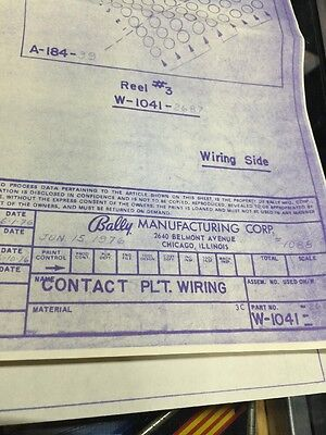 Bally Manufacturing #1088 Contact Plate Wiring Schematic