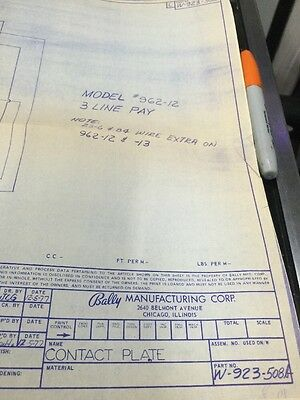 Bally Manufacturing Contact Plate  #962-12 Schematic