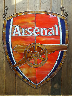 Stained Glass Panel Emblem Logo ARSENAL Football Club Handmade Tiffany Technique