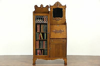 Victorian Oak Antique Side by Side Secretary Desk Bookcase, Beveled Mirror