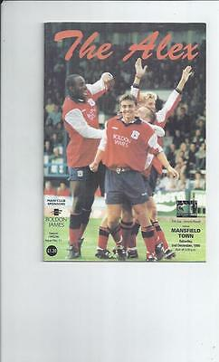 Crewe Alexander v Mansfield Town FA Cup Football Programme 1995/96