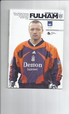 Fulham v Tranmere Rovers FA Cup Football Programme 1999/00