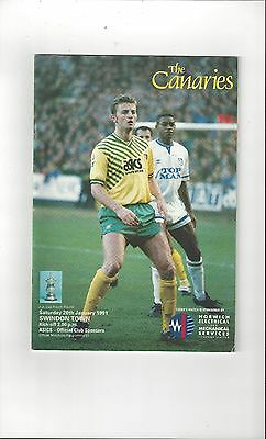 Norwich City v Swindon Town FA Cup Football Programme 1990/91