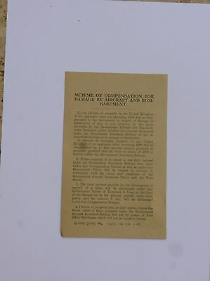 Ww1  Leaflet     July 1918   Compensation For Damage By Aircraft