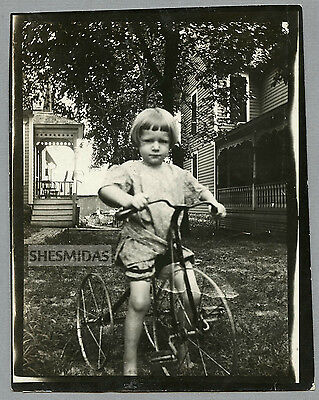 #37 Serious Little Girl on Her Tricycle, Vintage Antique Photo