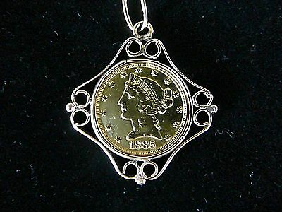 1885-S U.s. $5 Gold Coin Set In 10K Yellow Gold  Pendant
