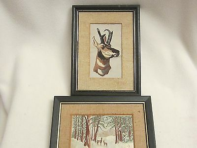 Two Older  Framed / Artistic Identification / Silk Thread Animal  Pictures/ 1979