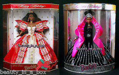 1997 1998 Holiday Barbie Doll AA African American Happy Holidays Lot 2 DB