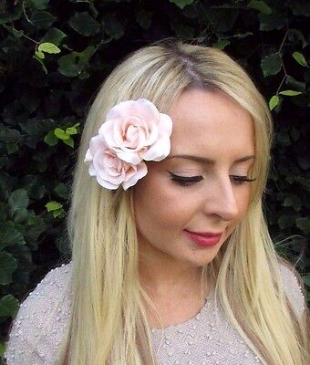 Double Light Peach Pink Rose Flower Hair Clip Bridesmaid Fascinator 1950s 3239