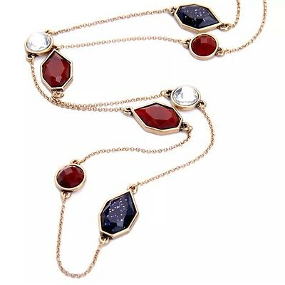 GARNET RED NAVY BLUE & WHITE Crystal Rhinestone Chain Station Pendant Necklace