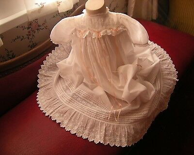 Antique Vintage Christening Gown Embroidered Insert Lace And Frills  Full Skirt
