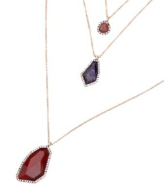 GARNET RED NAVY BLUE & WHITE Crystal Rhinestone 3 Layered Chain Pendant Necklace