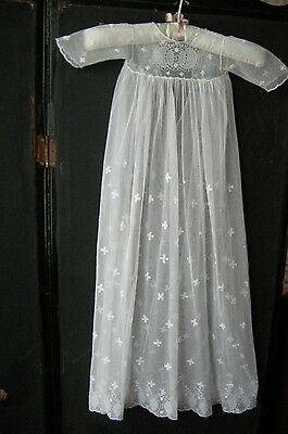 Antique Handmade Embroidered Needle  Lace  Christening Gown And Crepe Petticoat