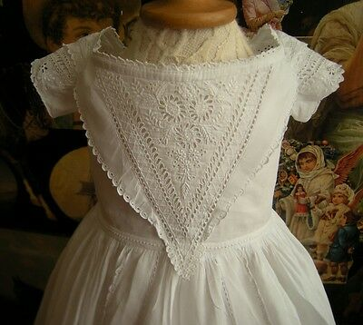 Antique Handmade Christening Gown  White Work Embroidery Outstanding Condition
