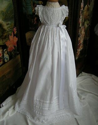 Antique  Christening Gown Lace Bodice, Lace,embroidered,inserts Frill