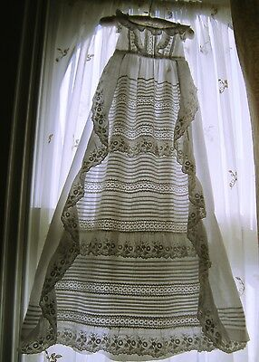 Antique Handmade Christening Gown Apron Front Deep Frills Ornate Bodice