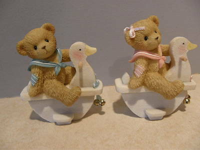 Cherished Teddies WELCOME TO THE WORLD LOT OF 2 FIGURINES 116542  & 116541  NEW
