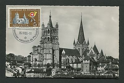 SCHWEIZ MK 1955 607 KATHEDRALE LAUSANNE MAXIMUMKARTE MAXIMUM CARD MC CM c8812