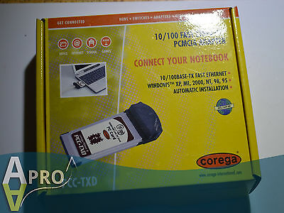 Boxed Nos - Corega 10/100 Fast 16 Bit Laptop Pcmcia Card 618-00030 - Uk Seller