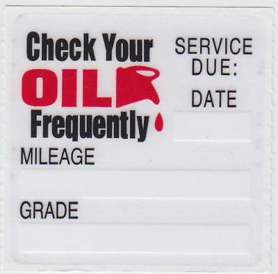 30 oil change service reminder static cling stickers