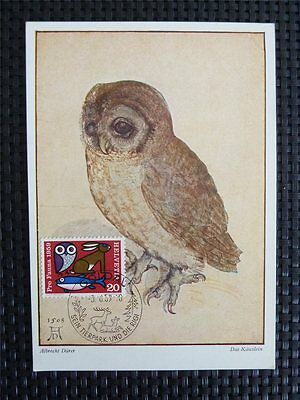 SCHWEIZ MK 1959 670 EULE MAXIMUMKARTE MAXIMUM CARD MC CM OWL DÜRER c5066